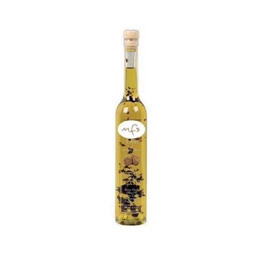 Oro - huile d'oIive vierge extra de l'Ombrie à la truffe d'été et truffe noire avec arôme naturel et lamelles de truffe